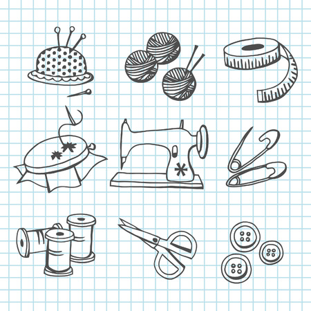needle cushion: A illustration set of various sewing and haberdashery items in doodle line art style.