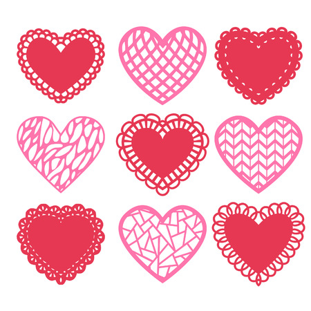 A illustration set of heart shaped doilies and decoration.