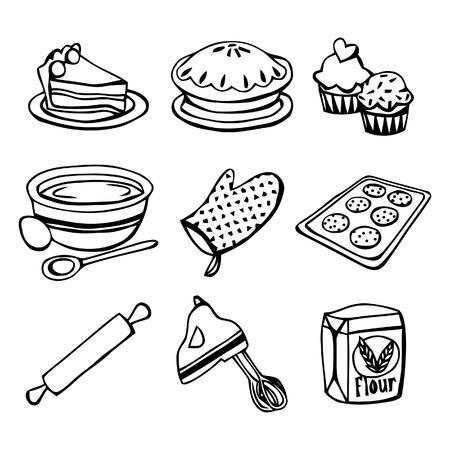 drawing pin: A black and white illustration baking related icons Illustration