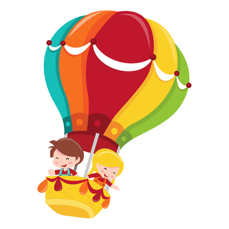A cartoon illustration of two happy kids on a colorful hot air balloon adventure.  Ilustração