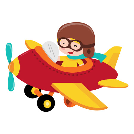A cartoon illustration of a happy pilot kid/boy flying a plane.