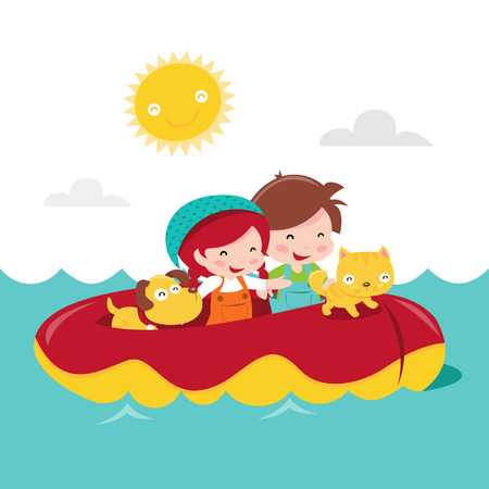 dingy: A cartoon illustration of two happy kids, boy and girl with their pets in a dingy boat adventure.