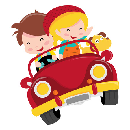 A cartoon illustration of two happy kids, boy and girl, riding a red convertible car with their pet dog.