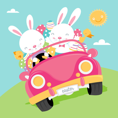 A cartoon illustration of two happy easter bunnies carrying a load of easter eggs in a convertible car.