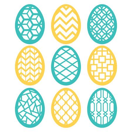 fretwork: A illustration set of easter eggs filigreefretwork decoration set.  Illustration