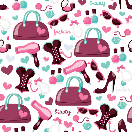 A illustration of girl fashion beauty theme seamless pattern background.  Vector