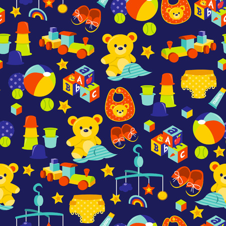 baby playing toy: A cartoon illustration of cute baby gears and toys theme seamless pattern background.
