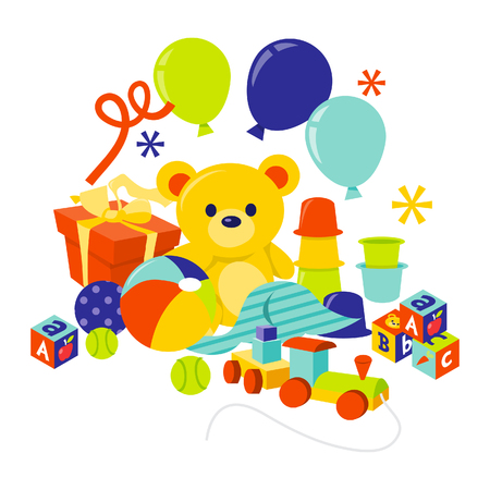 hamper: A cartoon illustration of baby gears and toys gift hamper.  Illustration