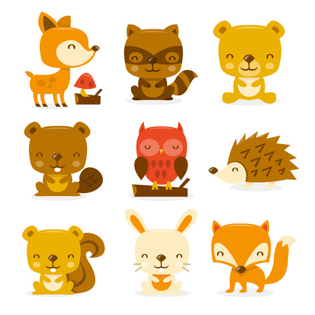 A cartoon illustration set of super cute woodland creatures and critters.