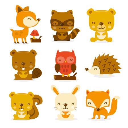 zorro: Una ilustración de dibujos animados conjunto de criaturas y criaturas del bosque super lindo. Vectores