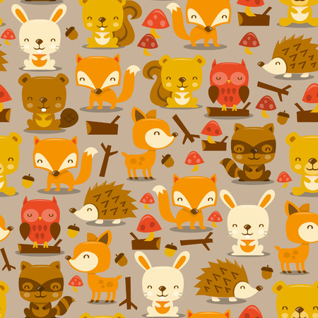 A illustration of super cute woodland creatures seamless pattern background.