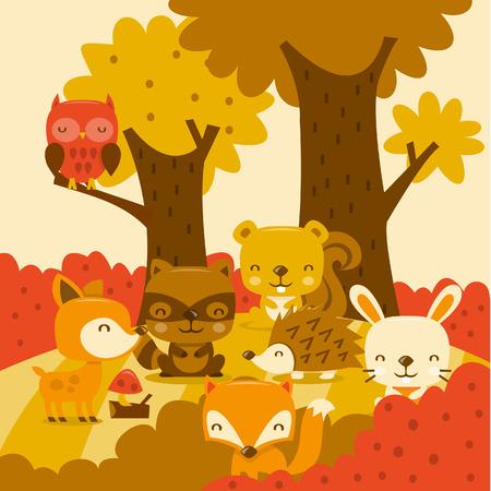 Eine Karikaturillustration der super netten Waldtiere in Laune Wald. Standard-Bild - 39136905