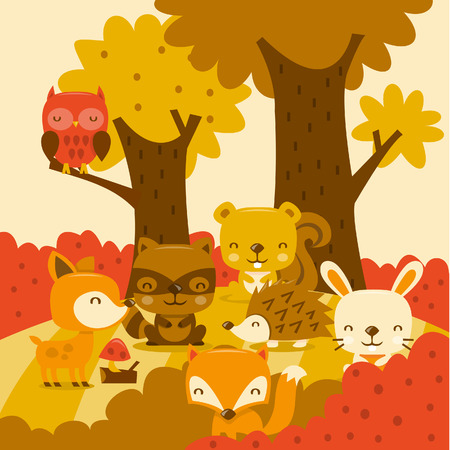 A cartoon illustration of super cute woodland creatures in whimsy forest.