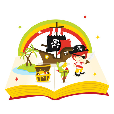 adventure story: A cartoon illustration of treasure island story book filled with pirate ship, pirate, island and treasure.