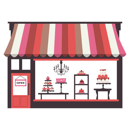 A chic illustration of a cake shopfront with large window display. On the window display, there are cakes, cupcakes, desserts and pies.  Vector
