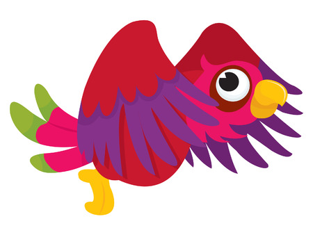 flapping: A cartoon illustration of a cute parrot flying and flapping its wings in the air.