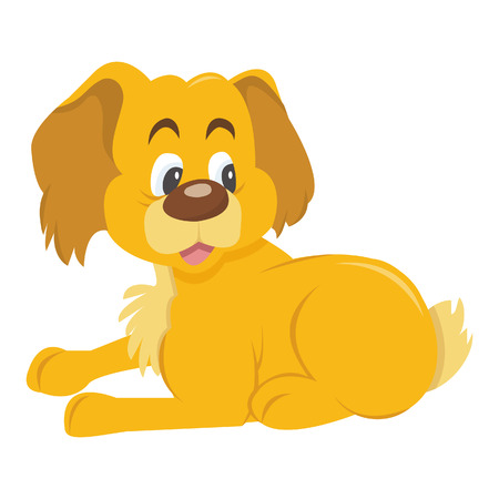 A cartoon illustration of a cute puppy dog in resting position.