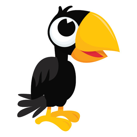 crow: A cartoon illustration of a black cute crow standing straight.