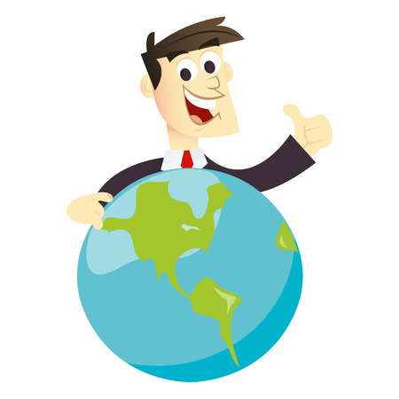 A cartoon illustration of a global businessman. He is smiling doing a thumb up while holding a globe. Vector