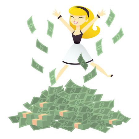 Eine Karikaturillustration der Frau springt vor Freude auf einem Haufen Geld.
