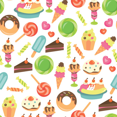 indulgence: A illustration of chic sweet desserts seamless pattern background. Illustration