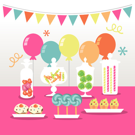 tables: A chic illustration of a candy buffet party: candies in apothecary jars, lollipops, balloons and other sweet treats.