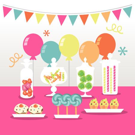 golosinas: Un ejemplo elegante de un partido comida fr�a del caramelo: Caramelos en tarros de botica, piruletas, globos y otros dulces. Vectores