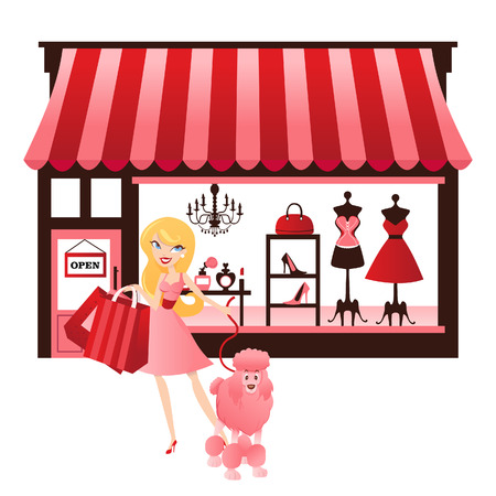A chic illustration of a cute blonde girl shopping with a french poodle in front of vintage Parisian shopfront with fashion window display. Vector