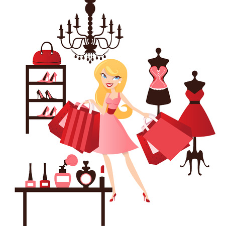 A chic illustration of a cute blonde happy girl doing fashion shopping inside a retail shop. Illustration