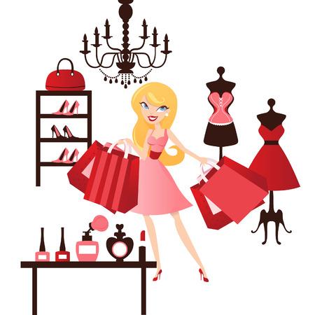 retail shop: Un ejemplo elegante de una muchacha rubia feliz linda que hace compras de moda dentro de una tienda al por menor.