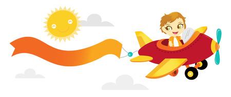 ni�os con pancarta: Una ilustraci�n de dibujos animados de un ni�o feliz volar un avi�n con una pancarta en blanco en el cielo.