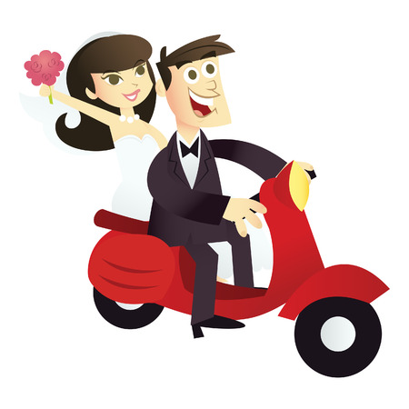 A cartoon illustration of a happy wedding couple on a red scooter.