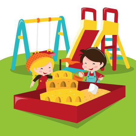 sandpit: Un ejemplo de la historieta de los ni�os en el juego en el arenero del patio al aire libre.