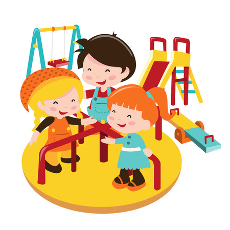 A cartoon illustration of kids playing at playground.