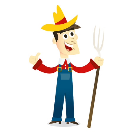 happy farmer: A cartoon illustration of a happy farmer.