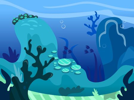 marine scenes: A cartoon illustration of a typical under the sea background scene.  Illustration