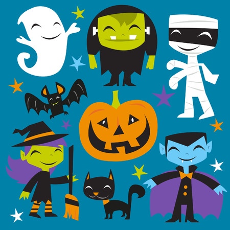 A illustration of a bunch of happy jolly halloween monsters and creatures.  Illustration