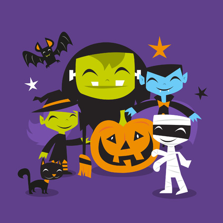 vlad: A illustration of whimsical and jolly halloween monsters scene.