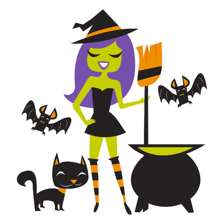witch: A illustration of 1960s inspired retro happy Halloween witch with black cat, bats, and witchs brew. Illustration