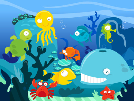 A cartoon illustration of highly detailed underwater scene with a bunch of happy silly cute sea animals like whale, fishes, octopus, turtle and crabs. Vector
