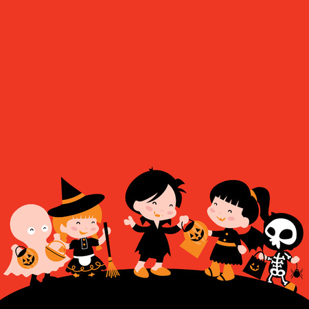 halloween kids: A illustration of happy Halloween kids trick or treat copy space. Illustration