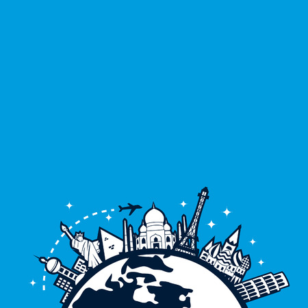 through travel: A chic illustration of a travel concept - globetrotting: a plane travel through all famous international cities on a globe with a starry backdrop.
