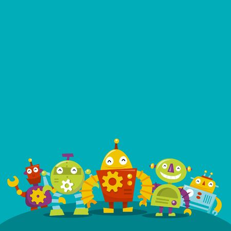 robot cartoon: A illustration of happy robots copy-space background.
