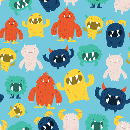 A illustration of cute furry monsters seamless pattern background.