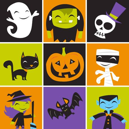 jolly: A illustration of retro inspired jolly Halloween monsters tile mosaic.