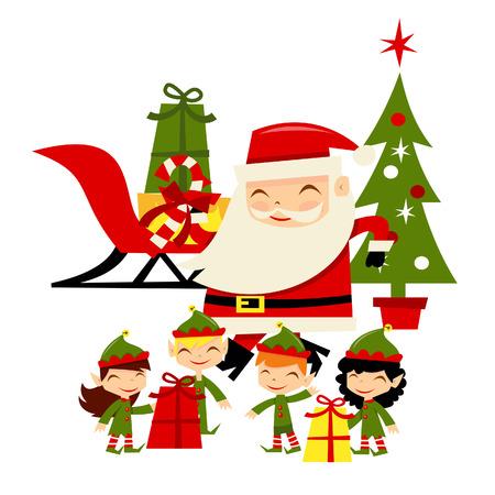 elfos navideÑos: Una ilustración de dibujos animados de retro inspirado feliz de santa y sus pequeños duendes ayudantes.