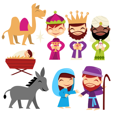 A cartoon illustration of retro inspired cute nativity set. You can use this to build your own nativity scene. Vector
