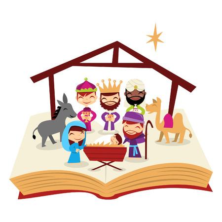 開いた聖書示すかわいいクリスマスのキリスト降誕物語の漫画イラスト。