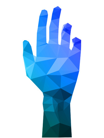 A illustration of modern polygon triangle hand reaching out.