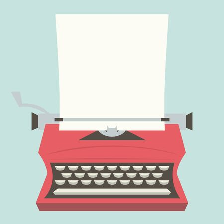business symbols metaphors: A illustration of a vintage typewriter with a blank paper as copy space. Illustration
